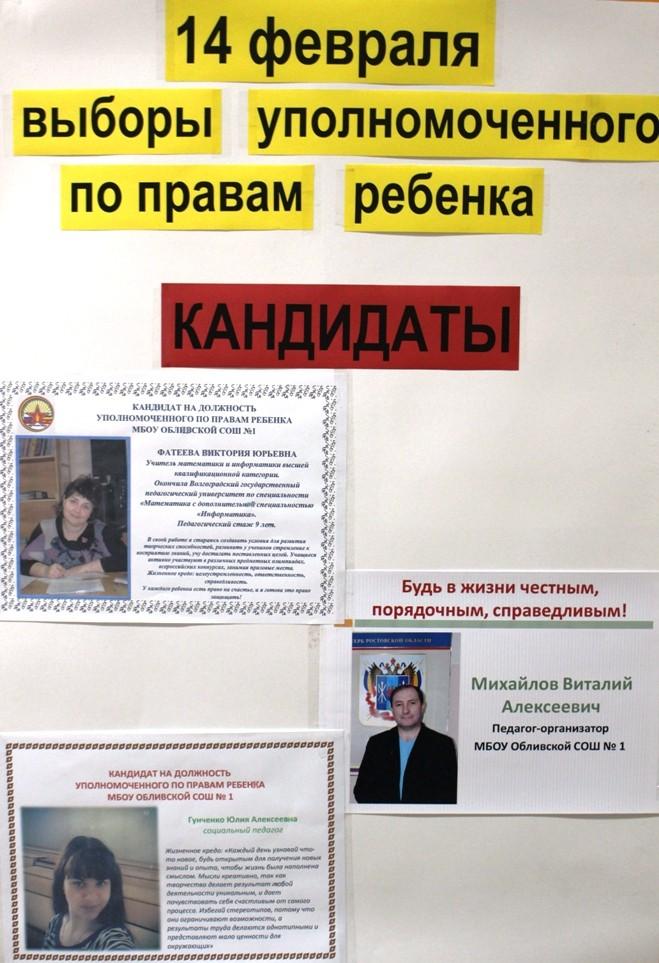 Выборы уполномоченного по правам ребенка.