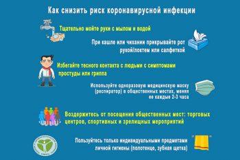 Рекомендации по снижению рисков заболевания новой коронавирусной инфекцией