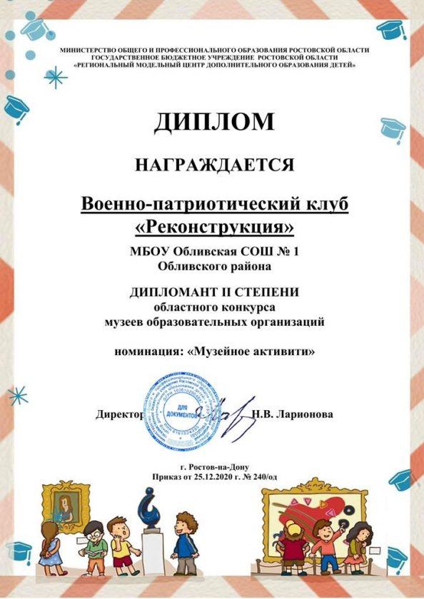 Отчет о деятельности ВПК «Реконструкция» за 2020 год